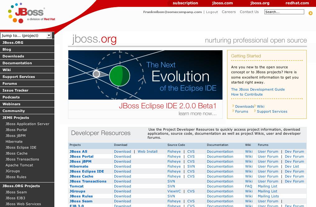 JBoss org UI Design